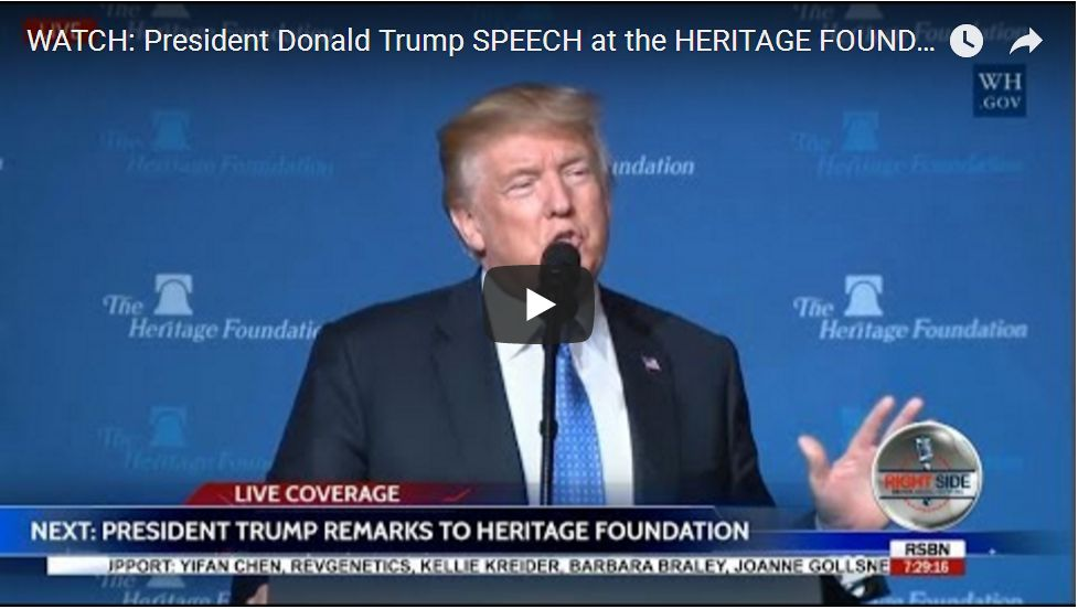 President Trump Speaks To Heritage Foundation