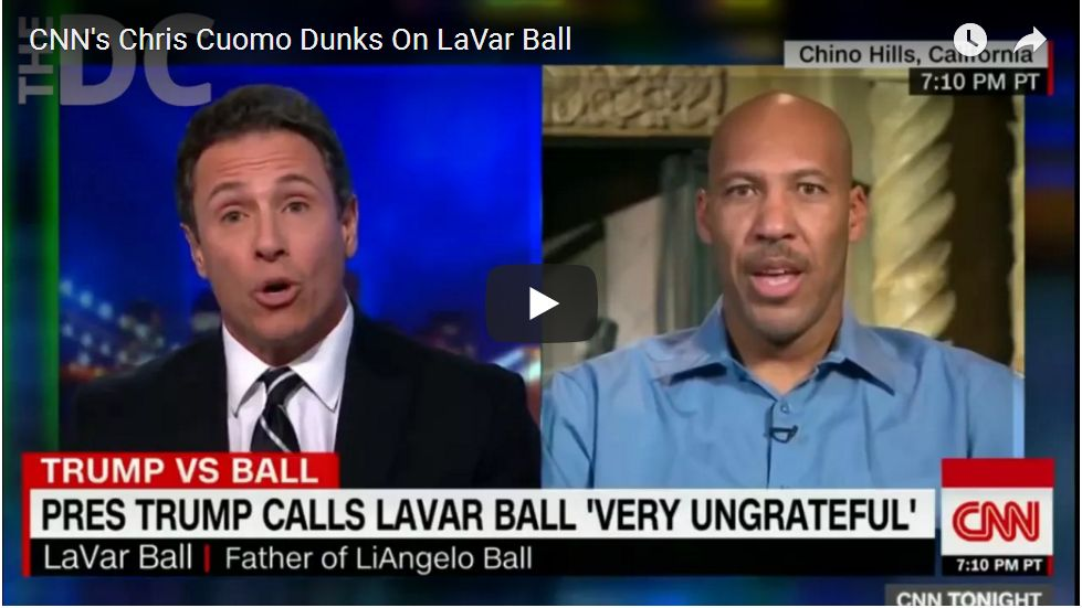 HELL FREEZES OVER: CHRIS CUOMO DEFENDS TRUMP AND DUNKS ON LAVAR BALL…