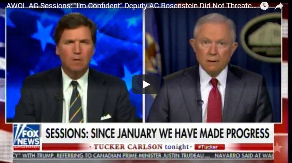 Sessions Backs Rosenstein: 'I Don't Believe He Threatened Members Of Congress'…