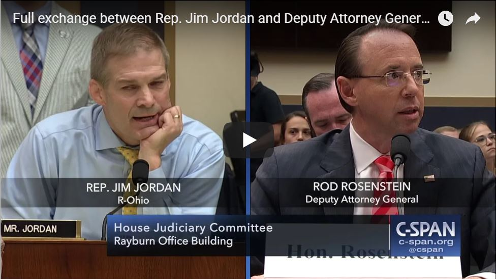 BOOM! FIERY EXCHANGE: Jim Jordan Crushes Rosenstein In Battle Over DOJ Criminality…