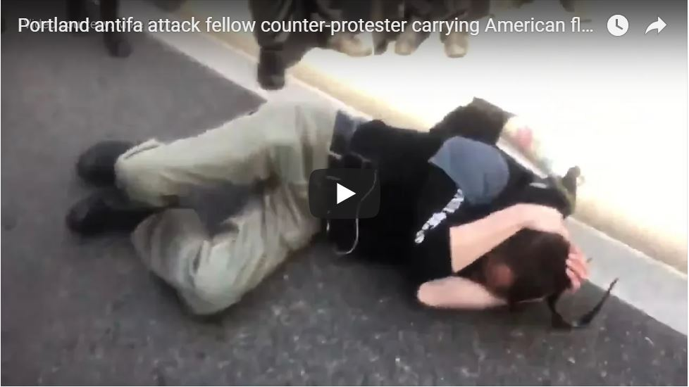 RAW VIDEO: ANTIFA Attacks Bernie Sanders Supporting For Carrying 'Fascist' American Flag