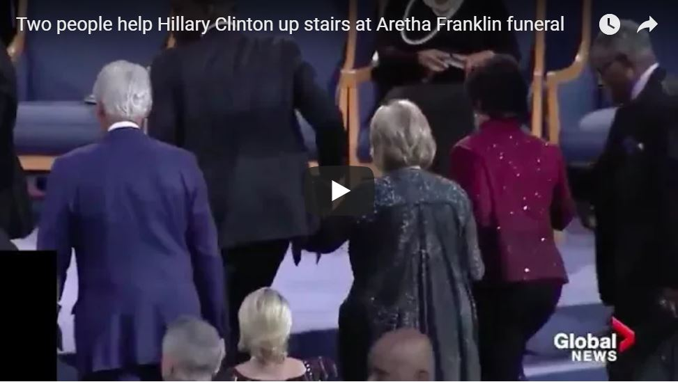 'Bag Lady' Needs Two People To Help Her Climb Stairs At Aretha Franklin Funeral…