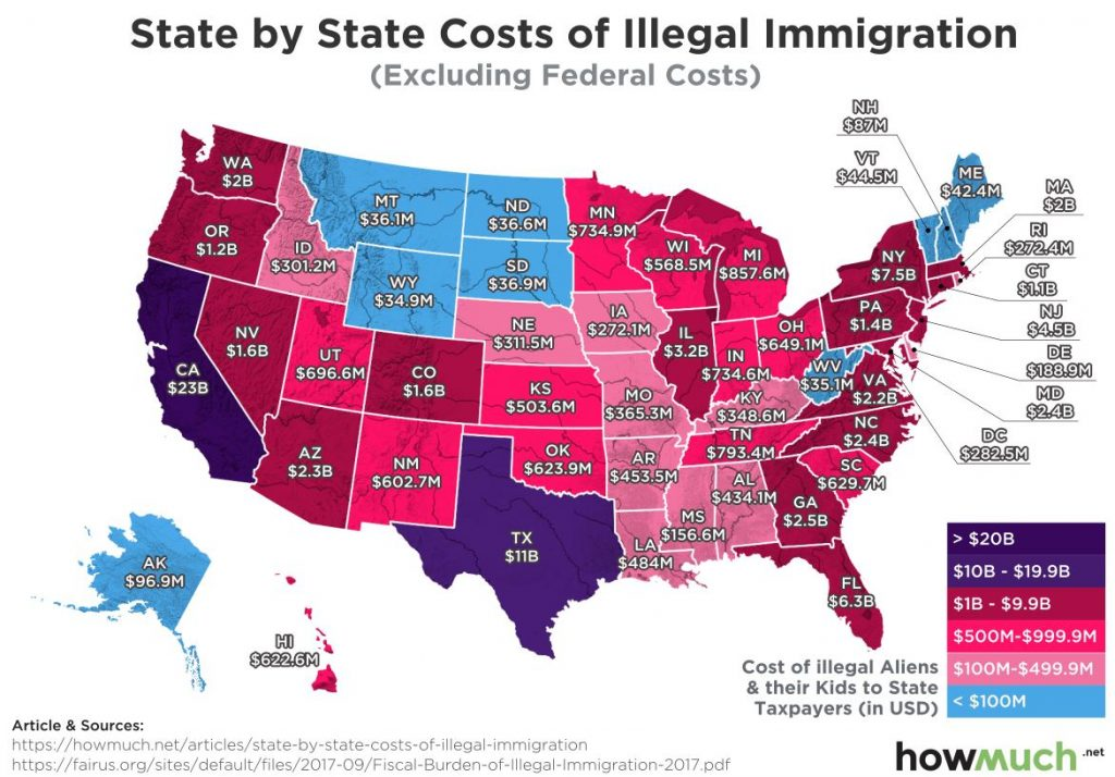 Illegal Aliens Are VERY Expensive … AWESOME MAP