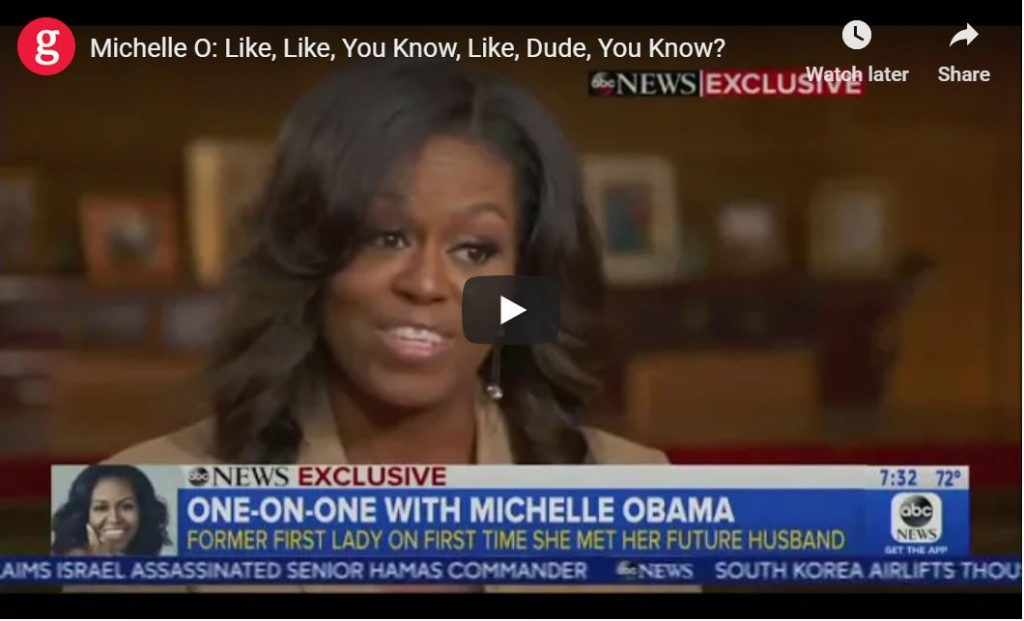 Moochelle Begins Book Tour On The Wrong Foot … Like, Like, You Know, Like, Dude, You Know?