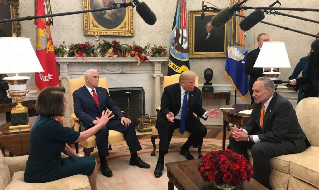 Trump Heated Argument With Pelosi And Schumer Over Border Wall … Caught On Tape