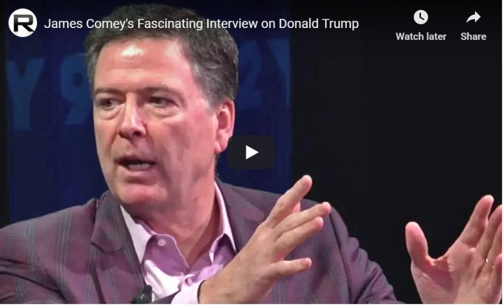 Sanctimonious Comey Surprises Audience: 'Trump Can't Be Indicted, And He Shouldn't Be Impeached'