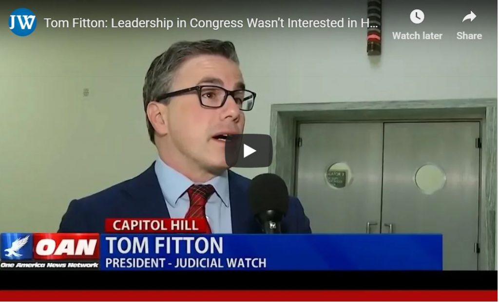 Tom Fitton … Is Seriously Pissed About Hillary