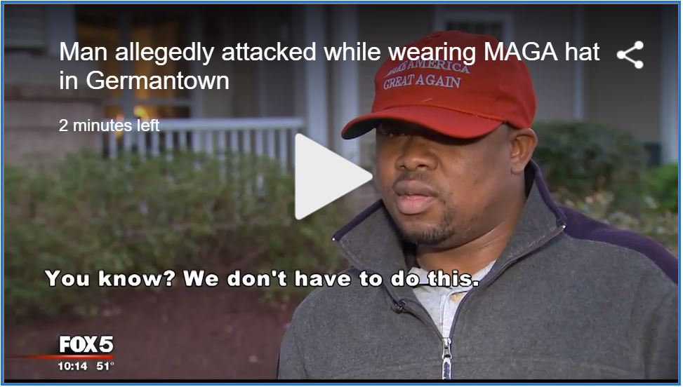 Black Trumpster beat up for wearing MAGA hat…
