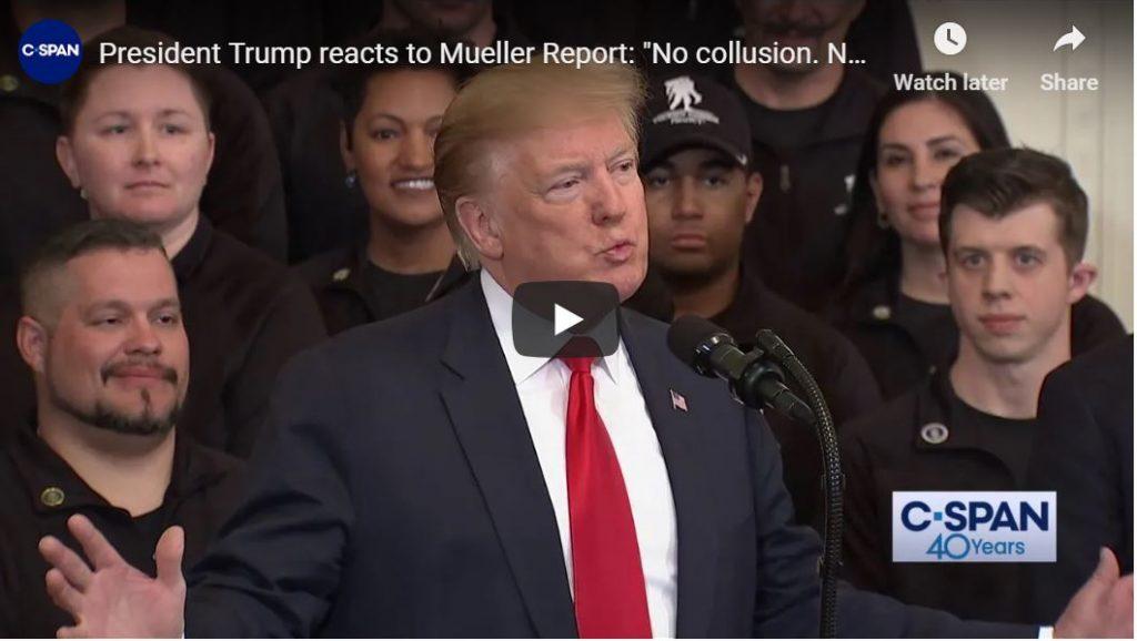 Trump Reacts to Mueller… Crowd Goes Wild…