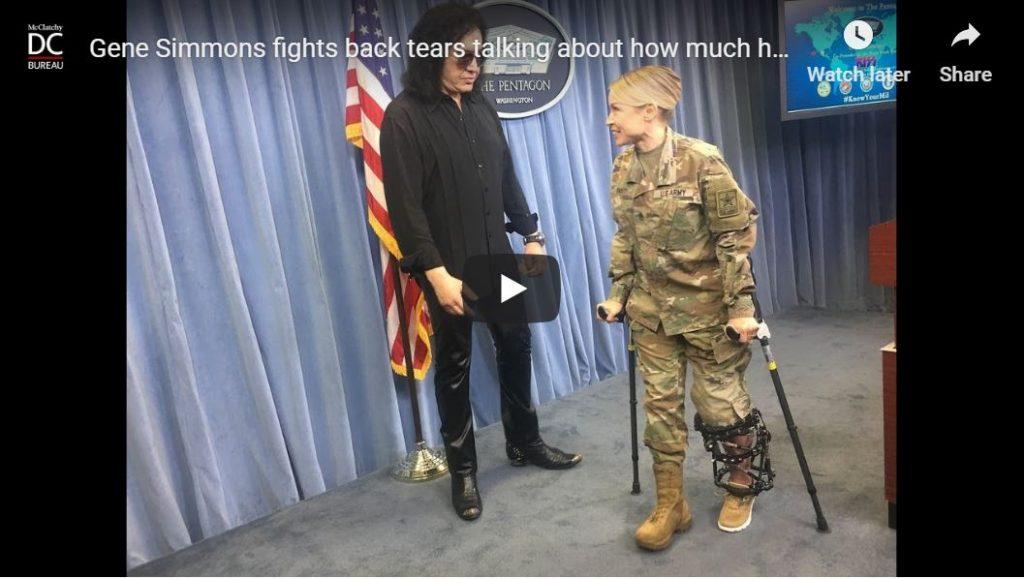 AWESOME CLIP — Kiss Rocker Gene Simmons fights back tears at impromptu Pentagon speech…