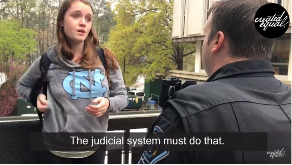 EPIC VIDEO — UNC snowflake steals sign, gets arrested, cries during perp walk…