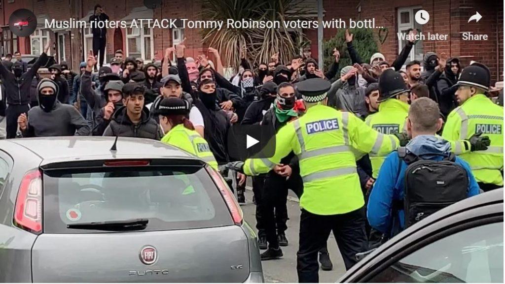 Muslim gang attacks Tommy Robinson rally with bottles, bricks (intense video)…