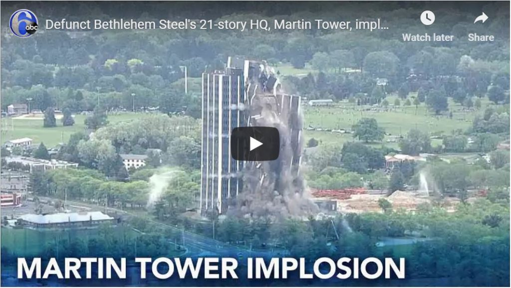 Watch Bethlehem Steel's 21 story headquarters demolished in seconds…