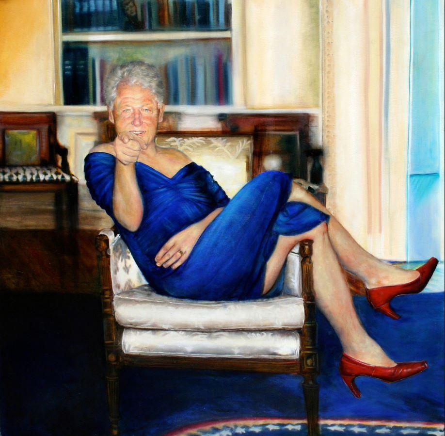 Epstein apartment had portrait of Bill Clinton wearing Monica's blue dress inside Oval Office…