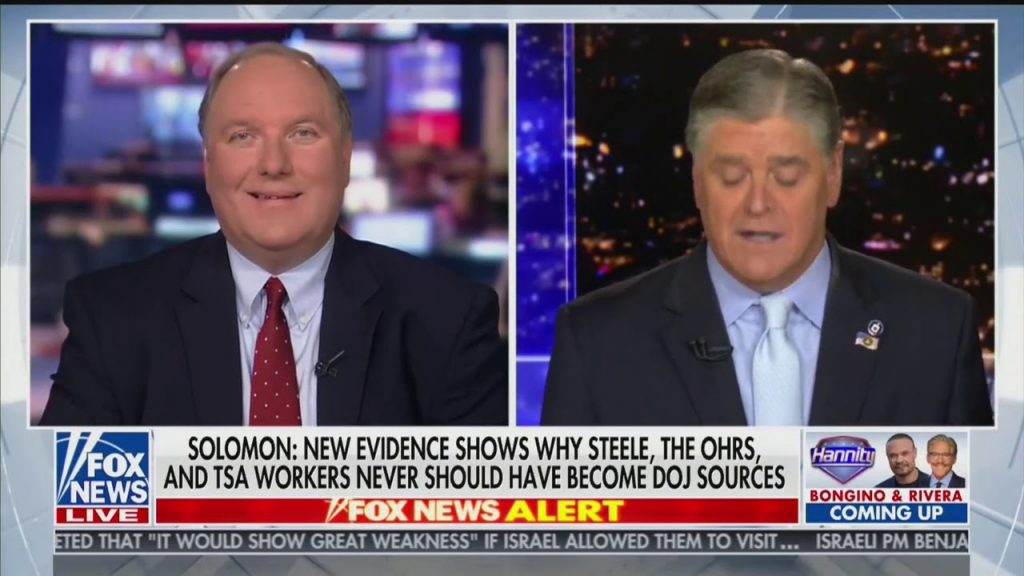 Hannity with John Solomon… 'Most explosive part of Spygate report covers outsourcing of illegal intelligence'…