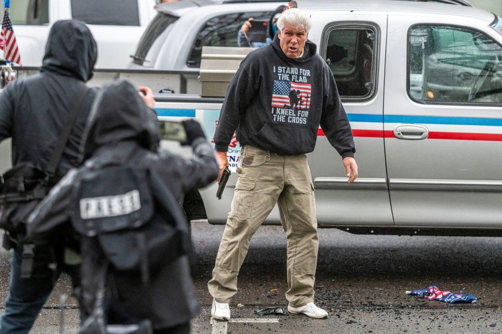 FREEDOM RALLY — Oregon man pulls gun on Antifa mob after they trash his truck…